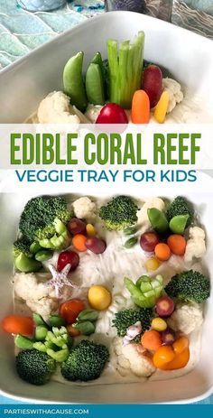 Looking for healthy party ideas for kids? Try a creative veggies tray that looks like an edible coral reef! Use it for mermaid party food, under the sea adventures, or ocean themed snacks while exploring at home. Find tons more fun kids food ideas at Parties With A Cause. #healthypartyfood #mermaidfood #oceanthemedfood