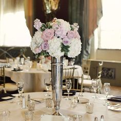 Hydrangeas and Roses Centerpieces