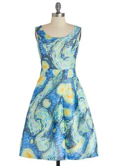 Down to a Fine Art Dress in Night. For a fashionista like you, fancying up is second nature. This van Gogh inspired dress is an art teacher's dream! Vincent Van Gogh, Starry Night Dress, Moda Chic, Moda Casual, Retro Vintage Dresses, Vintage Clothing, Mod Dress, Geek Chic, Modcloth