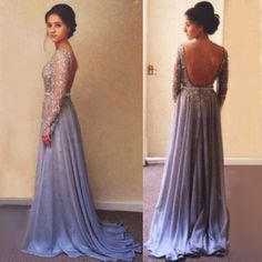 Long Sleeve Backless Beading Long Prom Dress,Evening Dress ,Charming Prom Dresses,BG72