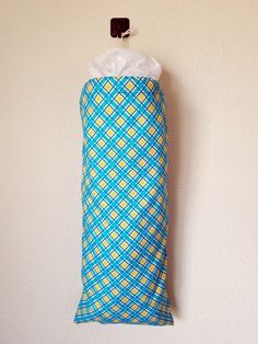 Blue White Yellow Plaid Grocery Bag Holders