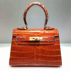 Hermes Kelly Bag Alligator Leather Gold Hardware In Orange