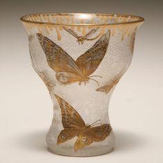 Mont Joye French Nouveau Cameo Art Glass Vase.