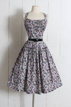 Vintage 1950s Dress vintage 50s cotton halter scarf print