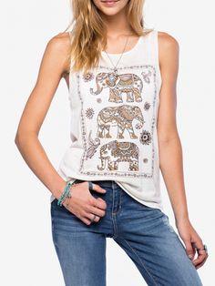 Mujer Varios O-Cuello sin mangas de impresión adelgazan las camisetas sin mangas