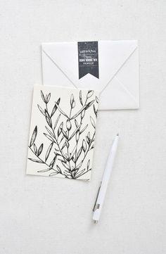 Invitations Mariage Minimaliste Kinfolk Papier Dessin Floral Carte
