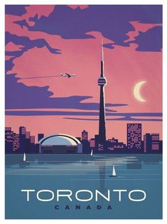 Vintage Poster Toronto, CANADA (I was here without Bob when I was sent on business by the engineering company I worked for in Salt Lake City.) - Browse all products in the Travel Posters category from IdeaStorm Studio Store. Pin Ups Vintage, Photo Vintage, Vintage Ads, Vintage Style, Tourism Poster, Kunst Poster, Travel Illustration, Digital Illustration, Vintage Travel Posters