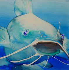 """Blue Cat watercolor 7.5"""" x 7.5"""" 2014 Bubbles"""
