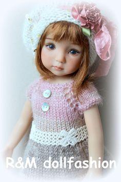 "R&M DOLLFASHION - ROMANTIC LINE OOAK handknit set for Effner 13"" dolls"