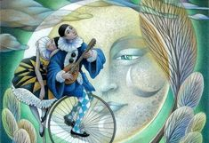 Sylvie Daigneault is a Canadian illustrator, whose vivid and magical, colored pencil illustrations are admired by a wide audience. Sun Moon Stars, Sun And Stars, Pierrot Clown, Luna Moon, Moon Illustration, Good Night Moon, Moon Magic, Beautiful Moon, Clowns