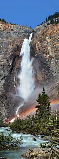 "Experience the awe & wonder & the tremendous thunder of Takakkaw Falls, standing up to its name, a Cree word meaning ""the magnificent""! British Columbia, Canada"