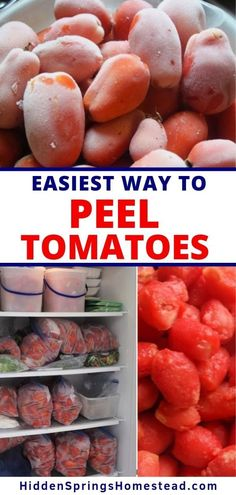 The easiest way ever to peel tomatoes! You don't have to stand over the hot stove to peel tomatoes for canning or for recipes anymore. Learn how simple and easy it is to peel tomatoes by freezing them and popping them right out of their skin. Video included.