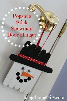 popsicle stick snowman - cute project for little hands :-)