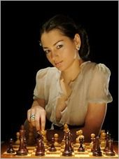 Alexandra Kosteniuk  (born April 23, 1984)  Born in Perm, Russian Soviet Federative Socialist Republic, she is Women's World Chess Champion in 2008-2010. At a tender age of 17, she already made it to the final of the Women's World Chess Championship. When she was 20, she became the tenth woman to receive the highest title of FIDE, International Grandmaster. More interestingly, she has been the ambassador of chess while being a fashion model.