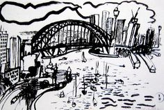 Works on Paper - Brett Whiteley - Page 2 - Australian Art Auction Records Dancing Drawings, 3d Drawings, Drawing Art, Bridge Drawing, Black And White Sketches, Chicano Art, Urban Sketchers, Paintings I Love, Sydney Harbour Bridge