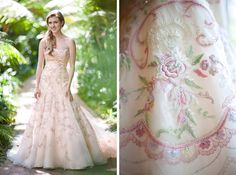 lazaro pink embroidered wedding dress - I don't really favor the form fitting dress but I think the design is really pretty, I would be willing to try this