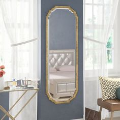 House of Hampton Christiano Traditional Beveled Full Length Wall Mirror Unique Mirrors, Cool Mirrors, Beautiful Mirrors, Vanity Set With Mirror, Round Wall Mirror, Mirror Mirror, Full Length Floor Mirror, Mirrors Wayfair, Glass Center