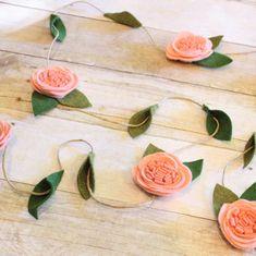 Felt Flower Garland, Blush Nursery, Nursery Wall Decoration, Girls Nursery Art, Pink Flower Garland, Boho Nursery, Shabby Chic, Floral Vine by ChicSundryBoutique on Etsy