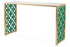 "Kings Grant Brass Console on OneKingsLane.com, 52""W x 18""D x 31""H.  This console combines super chic acrylic and brushed brass with gorgeous fretwork detail in emerald green."