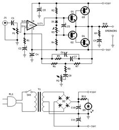 Audio Amplifier with Bass-boost - circuit diagrams, schematics, electronic projects Dc Circuit, Circuit Diagram, Electronics Basics, Electronics Projects, Electronics Storage, Electronic Engineering, Electronic Recycling, Electronic Circuit, Amplificador 12v