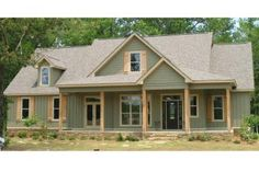 Often overlapping with cottage plans and farmhouse plans, country house plans offer outdoor living, woodsy simplicity, and more. Country Style House Plans, Cottage House Plans, House Floor Plans, Country House Exteriors, 4 Bedroom House Plans, Simple House Plans, Farm House, Green Siding, Exterior House Colors