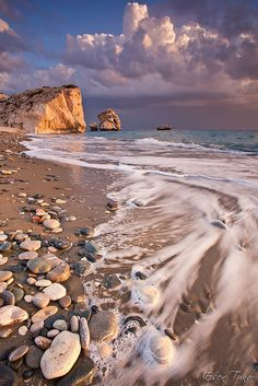 Sunset at Petra Tou Romiou next Paphos in Cyprus.