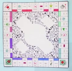 monopoly board doodle Sticker Printer Paper, Custom Monopoly, Mothers Day Cards Craft, Homemade Board Games, Board Game Template, Monopoly Board, Passion Project, Diy Games, Family Game Night