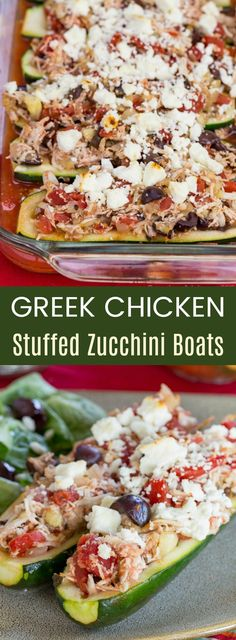Greek chicken stuffed zucchini boats get a Mediterranean flair with the addition of tomatoes, olives, feta, and oregano for a wholesome meal packed with fresh ingredients and bold flavors.