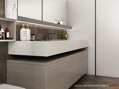 Wood Grain Bathroom Mirror Cabinet BC17-PVC01