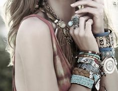 Mix of leather, metal and color bracelets by C&I