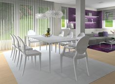 dining room, purple, 3D vizualization, rendering, interior design, kartell ghost, foscarini