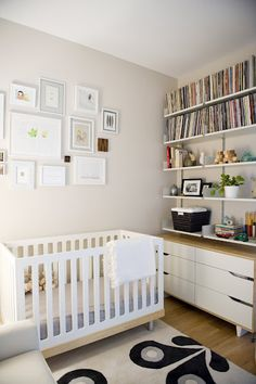 Love the gallery wall in this nursery and the shelves