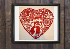 red heart wall art red heart art heart by mariasadiacrafts on Etsy
