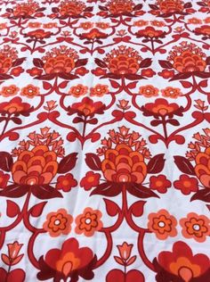 #Vintage retro red flower scandi #pattern x 2 curtain fabric #pieces 60s 70s,  View more on the LINK: http://www.zeppy.io/product/gb/2/281809793771/