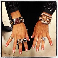 'The question is. Zoe - born Rachel Rosenzweig - celebrated the release of her fall collection at Blooomingdale's in Century City Wednesday Jewelry Accessories, Fashion Accessories, Fashion Jewelry, Jewelry Box, Jewelry Bracelets, Vintage Jewelry, Layered Jewelry, Arm Party, Mani Pedi