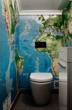 You've gotta be in there anyways, why not expand your geographical knowledge?! #worldmap #atlas #bathroomwallpaper
