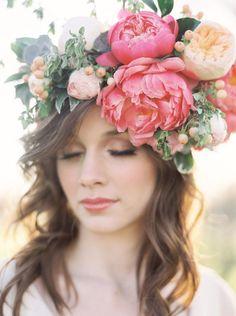 Chic dramatic flower crown wavy wedding hairstyle; Featured Photographer: Lauren Gabrielle Photography