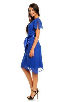Romantyczna szyfonowa sukienka z paskiem KM145