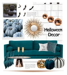 """Halloween Decor"" by dzolika ❤ liked on Polyvore featuring interior, interiors, interior design, home, home decor, interior decorating, Tempaper, Safavieh, Joybird and Grandin Road"