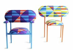 19 Greek Street Gallery Chair by Nina Tolstrup with David David Textiles Art Furniture, Weird Furniture, Milan Furniture, Furniture Design, Bespoke Furniture, Upcycled Furniture, Pallet Furniture, Contemporary Furniture, Modern Contemporary