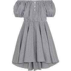 Caroline Constas Bardot off-the-shoulder gingham cotton mini dress ($245) ❤ liked on Polyvore featuring dresses, black, off the shoulder mini dress, fitted dresses, petite cotton dresses, short loose dresses and loose fitting dresses