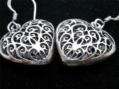 Antiqued Sterling Silver Dangle Heart Open Work Estate Pierced Earrings Vintage | eBay
