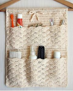 Pattern is written is US crochet terms.The Bathroom Organizer is an exclusive design inside Issue (December of Happily Hooked Magazine.Ravelry: Bathroom Organizer pattern by Ana D Bathroom Organisation, Home Organization, Bathroom Storage, Free Crochet, Knit Crochet, Crochet Case, Crochet Stitches, Easy Crochet, Small Crochet Gifts