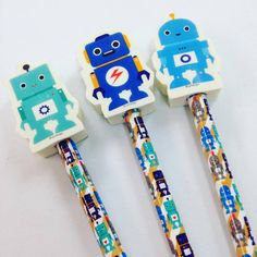 Robot Pencils with Eraser, Pack of Three, Fun, Kids Stationery, Office, Gift, School by RockinRuler on Etsy