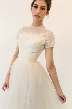 This with the lace removed=awesome.  50s Tulle Wedding Dress XXS / 1950s Swiss Dot Gown by CrushVintage, $475.00
