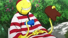 Koro-sensei's weakness is water XD wonder how he avoids body odour when he sweats but can't take a bath.
