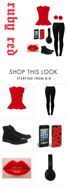"""""""ruby red!"""" by fashionqueen-cutie ❤ liked on Polyvore featuring Antonio Berardi, Noisy May, Converse, Diane Von Furstenberg, Lime Crime and Beats by Dr. Dre"""