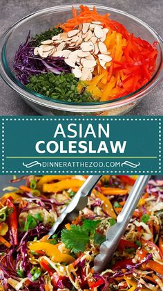 Colorful Asian slaw with an assortment of shredded vegetables tossed in sesame dressing. #salad #dinneratthezoo Slaw Recipes, Healthy Salad Recipes, Mexican Food Recipes, Vegetarian Recipes, Cooking Recipes, Healthy Broccoli Salad, Chutney Recipes, Spinach Salad, Cucumber Salad