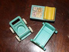 Vintage Fisher Price Little People Crib Set