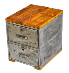repurposed lockable c. 1950's salvaged chicago double-drawer storage cabinet or side table with brushed metal finish and newly added wood top and skid feet